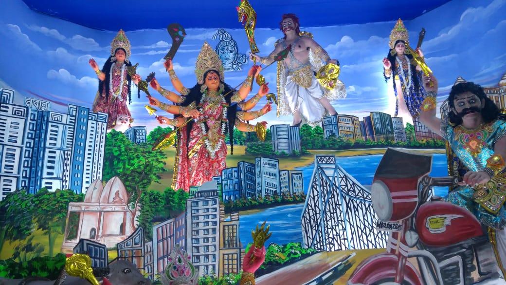 পোলেরহাট সার্বজনীন দুর্গাপুজার এই বছরের থিম পথ নিরাপত্তা