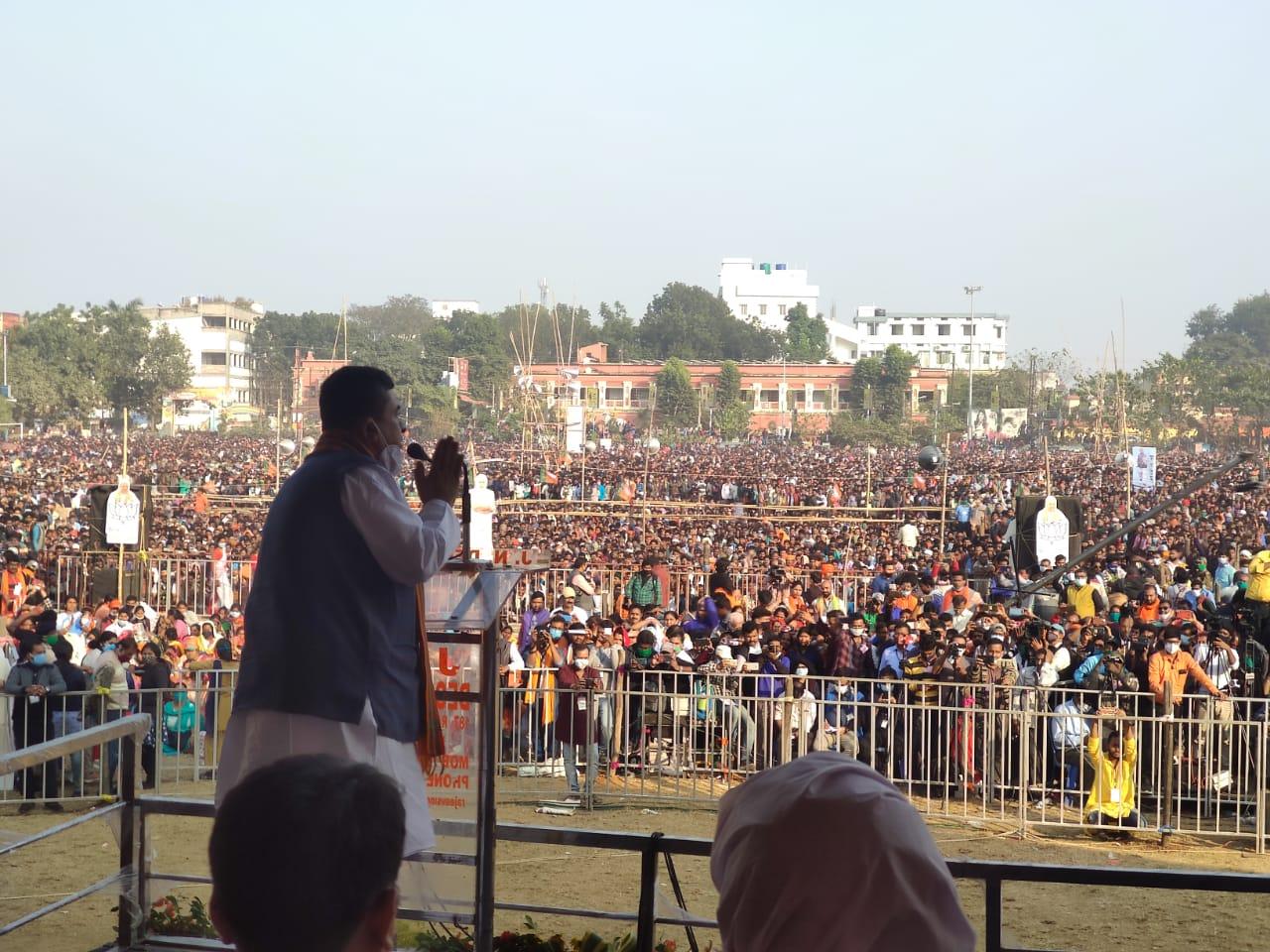 """মেদিনীপুর কলেজ মাঠের মঞ্চ থেকে শুভেন্দু অধিকারীর হুঙ্কার, """"তোলাবাজ ভাইপো হঠাও"""